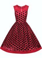 Wholesale Dot Net Chiffon - Women's Vintage Sleeveless Chiffon See Through Round Neck Polka Dot Net Yarn Party Evening Elegant Swing Dress