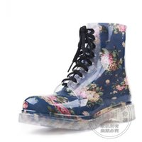 Wholesale Ladies Korean Boots Heels - Ladies Rain Lace Up Water Boots Kitten Heels Mixed Colors Slip Resistant Best Seller Korean Galoshes Bandage Ankle Floral