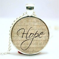 Wholesale Wholesale Word Necklaces - 10pcs lot Hope Necklace, Word Pendant, Inspirational Jewelry Glass Cabochon Necklace