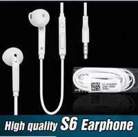 Wholesale Earbuds Headphone Mic Volume Control - Earphones For Galaxy S6 S7 edge Headphones High Quality 3.5mm In Ear Headset earbuds With Mic Volume Control for iphone 6