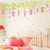 Wholesale Country Style Wall Decorations - Decoration Children Wall Sticker Wisteria Room Decor Kids Boy Photo Wallpaper Home Art Bedroom Hallway Mural PVC Girl Child