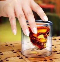Wholesale Cross Casting - Crystal Skull Head Vodka Shot Glass Pirate Glasses Beer Mug 2.5 ounces cup Creative Glass 75ML a636