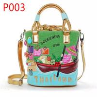 Wholesale River Designs - Wholesale- P003-SOUVENIRS from THAILAND Bucket bag Exquisite design of flower boat river Genuine leather women handbag shoulder bag