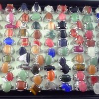 kostüm kıymetli taşlar toptan satış-Doğal taş yüzükler ücretsiz kargo karışık boyutu moda kostüm yüzükler kadın parmağı yüzük paketi 50 adet