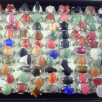 Wholesale Costume Gemstone Rings - Natural gemstone rings free shipping mixed size fashion costume rings women's finger rings pack of 50pcs