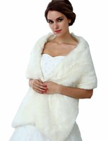 Wholesale Cape Sleeves Fur Shrug - 2017 White & Black In Stock Bridal Wraps Fake Faux Fur Hollywood Glamour Wedding Fashion Cover up Cape Stole Coat Shrug Shawl Bolero