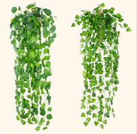 Wholesale Grape Leave - 2017 Hot sale Artificial Grape Leaves Wall Hanging Green Plants Home Decoration Ivy Simulation Rattan Green Pineapple G506