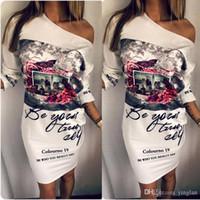 xl beyaz kulüp elbisesi toptan satış-Yeni Kadın Dashiki Elbise Beyaz Seksi Boyun Parti Kulübü Elbiseler Kalem Bodycon Rahat Zarif Ince Vintage Baskılı Elbise vestido