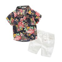 Wholesale Retro Style Clothing Wholesale - Cotton Clothing Sets for Kids Summer Boy Retro Short Sleeved Handsome Baby Floral Shirt Hole Denim Pants