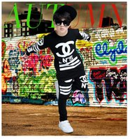 Wholesale hip hop suits girls - New children's modern dance performance clothing for boys and girls long sleeved hip hop hip hop dance suit wholesale