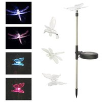 Wholesale Dragonfly Color Change Solar Light - Wholesale- Outdoor Multi-color Lawn Solar Light Hummingbird Butterfly Dragonfly Lawn Garden Stake Changing Light LED Sidewalk Lawn Light