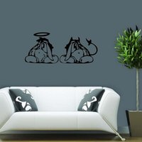 Wholesale Cute Yellow Wall Decals - For Eeyore Angel Devil Car Vinyl Wall Sticker Cute Decor Removable Decal Quote Art Bedroom Sitting Room Diy