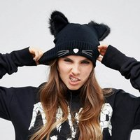 Wholesale Knitted Wool Hat Cute Cat Ears Hat Beanie Hat Warm Autumn and Winter Fashion Caps