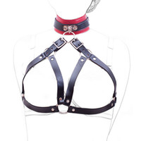 Wholesale Neck Nipple Bondage Toy - New Arrival Neck Collar Open Bra Nipple Bound Neck Ring Restraint Bondage Set PU Leather Adult Sex Toys Sexy Sex Products q0506