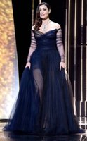 Wholesale Monica Dress - Sexy Celebrity Dress Inspired by Monica Bellucci 2017 Cannes Film Festival Evening Party Dress Red Carpet Prom Dress