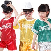 Wholesale Lace Dance Set - Girls Boys Sequined Hip Hop Performance Danccing outfits Girls Boys Jazz Modern Danceware Costumes Kids dancing Suits clothes set Tops+Pants
