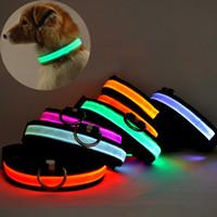 Wholesale Necklace Led Dhl - Pet Dog LED collar Pet Glow Flashing LED Collar Necklace Leashes Adjustable (S, M, L, XL) DHL Free