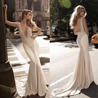 Wholesale Plunging Neckline Mermaid Wedding Dresses - Berta 2017 Vintage Mermaid Wedding Dresses Plunging Neckline Lace Beads Pearls Wedding Gowns Sweep Length Sequins Backless Wedding Dress