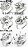 Wholesale Pearl Rose Ring - 10 Pieces Wholesale Pearl Ring Cage Mixed Lotus Butterfly Heart Rose Ball Fish Cages Ring Lockets