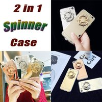 Wholesale Diy Iphone Cases - Funny 2 in 1 DIY Fidget Spinner Mirror Back Cover Hand Spinner Reduced Anxiety Stress Metal Rudder Phone Cases For iPhone 6 6S 7 7 Plus DHL
