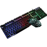 Nova Marca USB Wired Optical Keyboard Slim Gaming Teclado e Mouse Kit Backlights Teclado 2400DPI Mouses Illuminated Gamers and Pad 3 Pieces