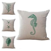 Wholesale Sea Horse Pillows - Blue Starfish Coral Sea Horse Throw Pillow Cases Cushion Cover Pillowcase Linen Cotton Square Pillow Case Pillowslip Home Decor 240507