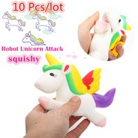 Wholesale Wholesale Retail Charms - 10 Pcs lot Kawaii Unicorn Squishy Slow Rising Retail Packaging Cute Phone Straps Pendant Bread Cake Cream Scented Kids Toy Gift