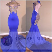 Wholesale Silk Embroidery Pictures - New Royal Blue Prom Dresses Mermaid High Neck Gold Lace Appliques Sexy Backless Evening Dresses Vintage Formal Party Pageant Gowns
