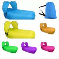 Wholesale Sun Lounger Wholesale - Inflatable Lounger With Sun Canopy Fast Inflatable Air Sofa Waterproof Beach Flatfish Sleeping Bed Air Sofa Camping Sleep Lounge Couch G42