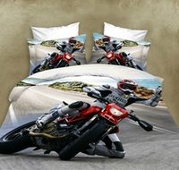 Wholesale Home Textile D Bedding Set Duvet Cover Sheet Pillowcase Reactive Printing Polyester Cotton Motorcycle Car Printed Bed Sets