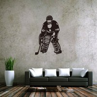 Wholesale Hockey Murals - Ice Hockey Player Wall Stickers Hockey Fan Boys Girls Teens Room Wallpaper Poster Decor Fashion Sports Home Decorative Wall Graphic Stickers