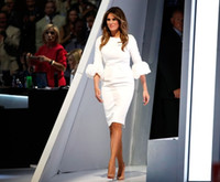 Wholesale White Plus Size Long Dresses - Melania Trump Little White Dresses Sheath Crew Neckline Pleated with Baloon Sleeves And Back Split Knee Length Celebrity Party Gowns