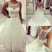 Wholesale Long Western Dresses For Women - lace ball gown wedding dresses A-line Sheer Lace Wedding Gowns Illusion See Through Back Bridal Dresses Western Elegant Dress For Women