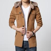 erkek yün palto uzun toptan satış-Sonbahar-Moda Marka Giyim Yün Ceket Erkekler Orta Uzun Ceket Ve Mont Erkek Açık Sıcak Yün Palto Rahat Skim Peacoat Ceket