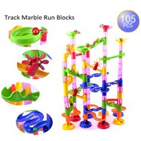 105 pezzi / set Maze Balls Track Building Blocks Costruzione in plastica fai da te Marmo Race Run Bambini regalo Baby Kid's Toy Educational