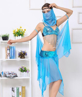 Wholesale Indian Dance Wear - Blue Flashing Indian Dancers Costume Gypsy Dance Dress DS Clothing Powerpoint Presenters Mask Goddess Uniforms Sexy Women Stage Wear Dress