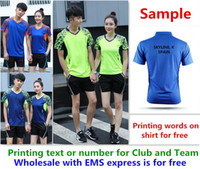 Wholesale printing text - Wholesale EMS for free, Text printing for free, new badminton shirt clothes table tennis T sport shirt clothes 1034