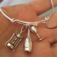 Wholesale Christmas Wine Opener - 12pcs Wine charm bracelet bangles silver tone wine opener charm bracelets