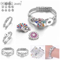 Wholesale 8mm Buttons - 2017 Wholesale New 10 styles SZ0452 Stainless Steel charms Bracelet & Bangle Fit 8mm charms 18mm snap button Bracelet For Snaps Jewelry
