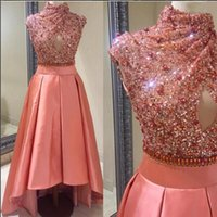Wholesale Cheap Shiny Pageant Dresses - High Low Prom High Neck Sequin Crystals Bling Party Wear Cheap Sleeveless Shiny Dresses A Line Style Free Shipping Luxury Celebrite Pageant