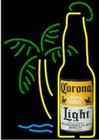 Wholesale Lighted Bottle Display - Fashion New Handcraft corona light bottle palm Real Glass Beer Bar Display neon sign 19x15!!!Best Offer!