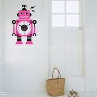Wholesale Robot Sticker Wall Art - Various colors of the robot pattern clock wall paste living room bedroom TV sofa background wall decoration clock paste