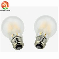 Wholesale Frosted Globe Lights - A60 Frosted LED Filament Bulb 2W 4W 6W 8W Dimmable E27 E26 B22 110V 220V Retro Edison Lamps LED Replacement Light Vintage Lighting