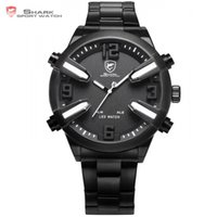 Wholesale Shark Led Digital Sport Watch - Wholesale- Dogfish Shark Sport Watch White Black Date Alarm LED Analog Stainless Steel Strap relogio Men Gents Fashion Brand Watches  SH323