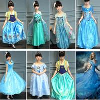 Wholesale Bride Children Dresses - Cinderella Elsa Anna Princess Dress 2017 Girls Gauze Lace Cosplay Costume Party Bride Dresses Children Clothing Birthday Gifts PX-A16