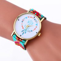 Wholesale Round Acrylic Beads Mm - Women handmade watches WILD ARE FREE design bracelet watch fashion ladies casual leisure rope weave bead wristwatches colorful dress watches