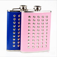 Wholesale Drink Funnel - 8 oz Rivent Hip Flask Drink Bottle Liquor Whisky Alcohol Portable Stainless Steel Screw Cap with Without Funnel 2 Color