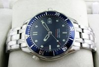 Wholesale Mens Automatic Water Resistant Watches - 2016 Luxury Mens Professional 300m James Bond 007 Blue Dial Sapphire Automatic Watch Men's Watches