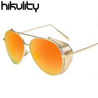 Wholesale Vintage Side Mirrors - Wholesale- Side Protection Vintage Steampunk Sunglasses Men Luxury Brand Punk Mirror Sun Glasses for Men Oculos Male Sunglasses