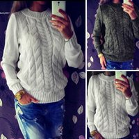 Wholesale Womens Warm Winter Sweaters - 2017 Designer womens tops Loose Knitted Pullover Sweater White Gray Casual Warm Long Sleeve O-Neck For Spring Autumn Winter